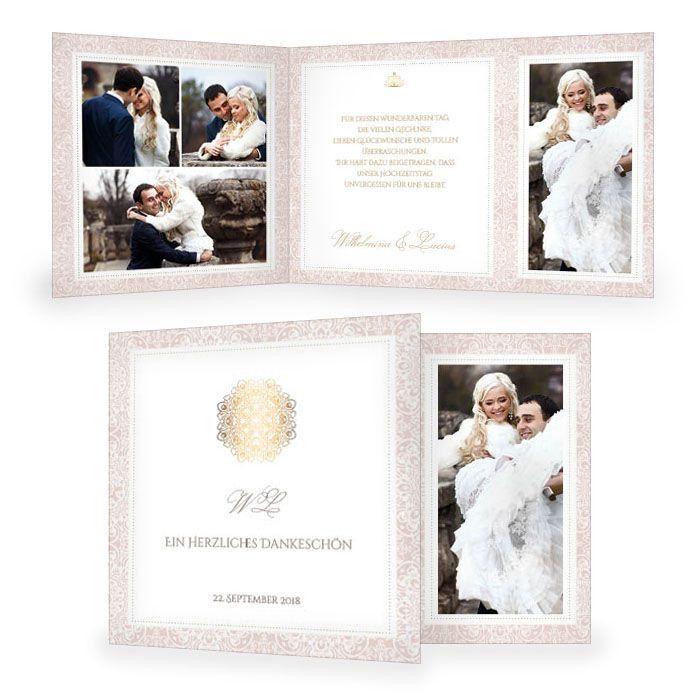 Edle Danksagung zur Hochzeit in Rosé und mit Goldornament