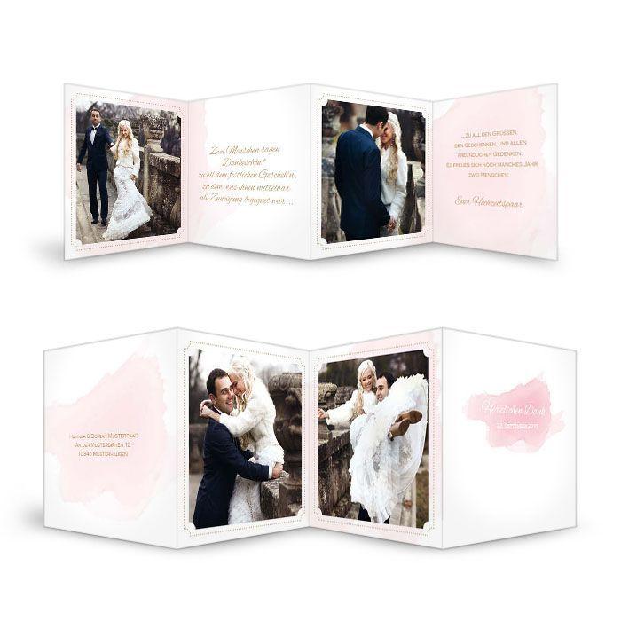 Danksagung zur Hochzeit im Aquarell Design in Rosa