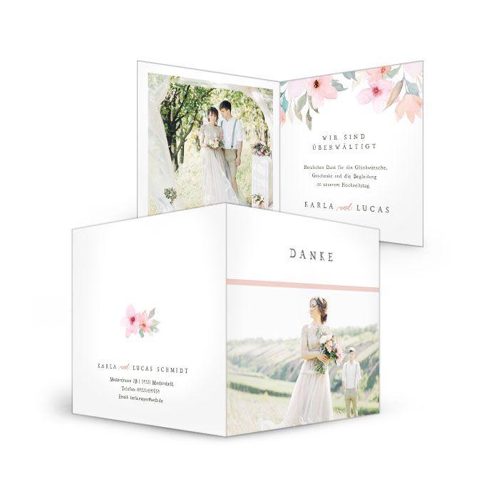 Danksagung zur Hochzeit mit Vintage Blütendesign in Rosé