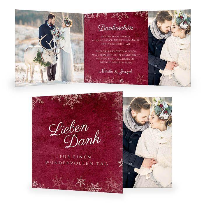 Danksagung zur Hochzeit mit Schneeflocken in Bordeaux