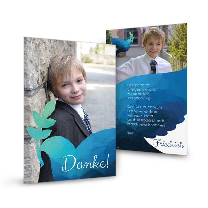 Danksagungskarte mit Taube in Blau zur Konfirmation