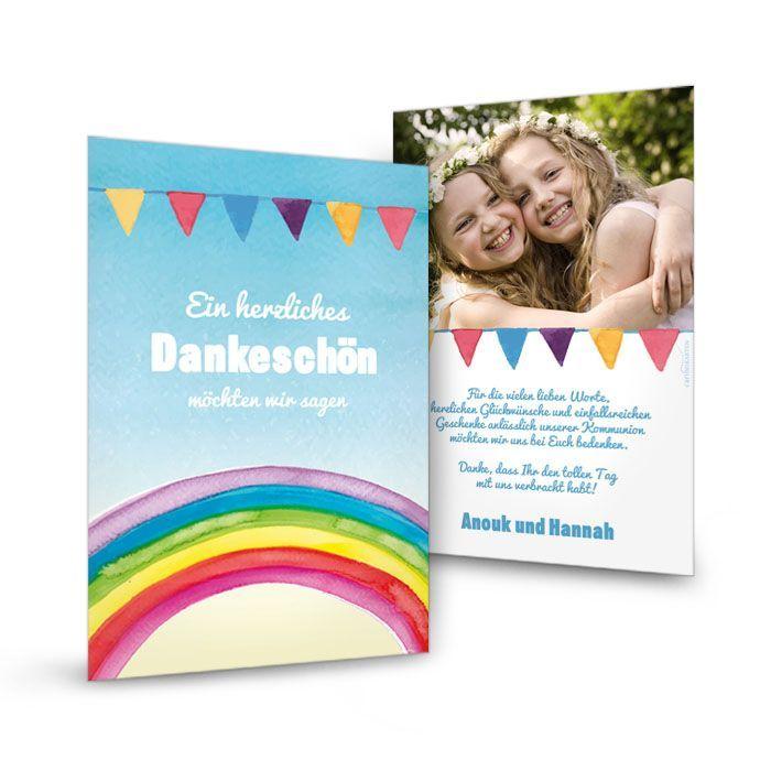 Danksagungskarte zur Konfirmation oder Kommunion mit Regenbogen