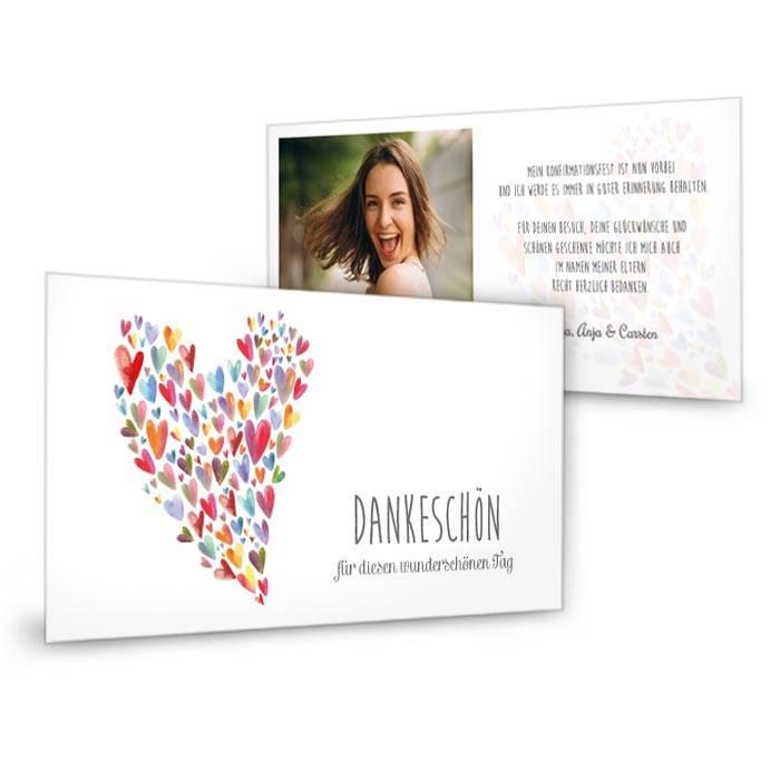 Dankeskarte zur Konfirmation als längliche Postkarte mit vielen bunten Herzen