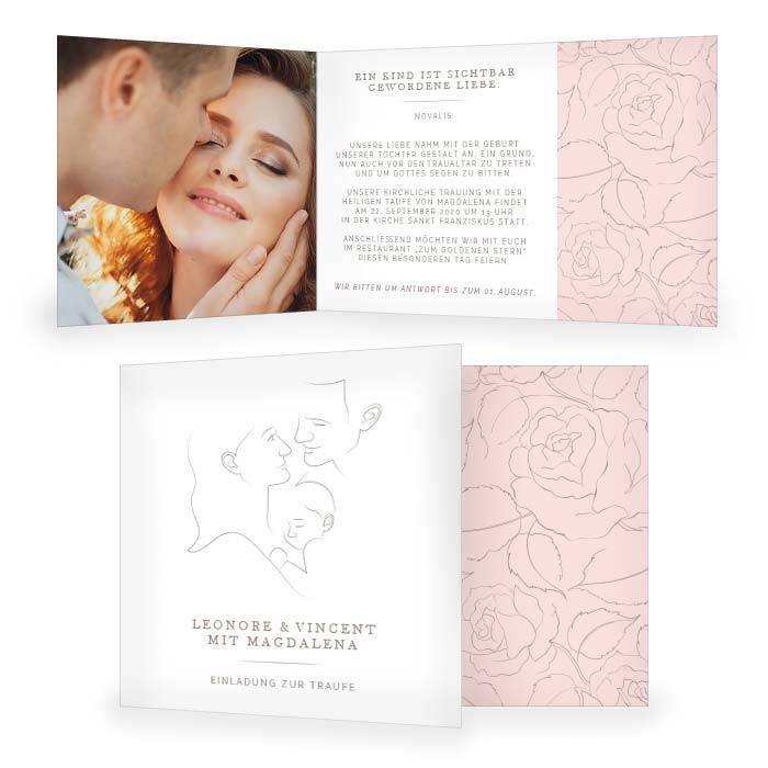 Danksagung zur Hochzeit mit Illustration in Rosa