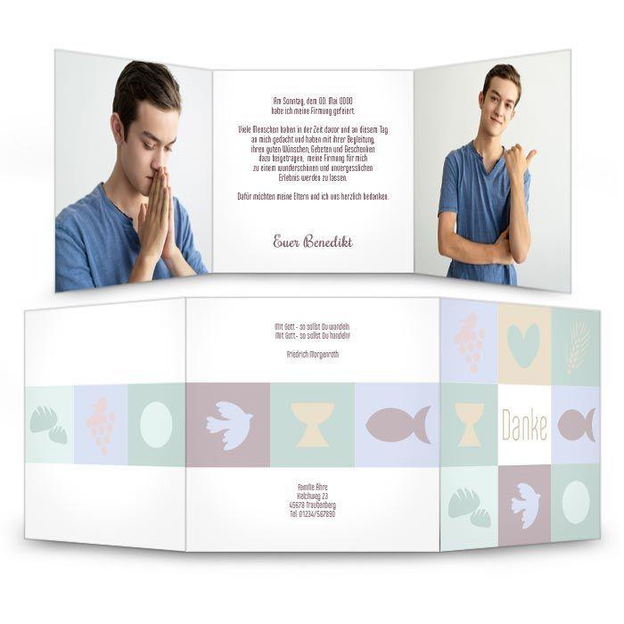 Moderne Danksagungskarte zur Firmung in Pastelltönen