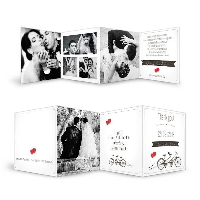 Hochzeitsdanksagung mit Fahrrad Motiv und rotem Herz