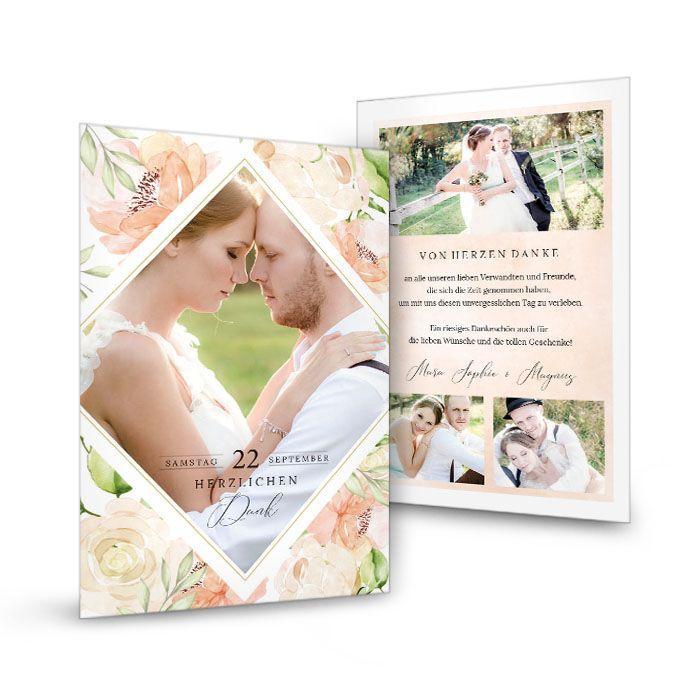 Danksagung zur Hochzeit mit Aquarell Rosen in Blush