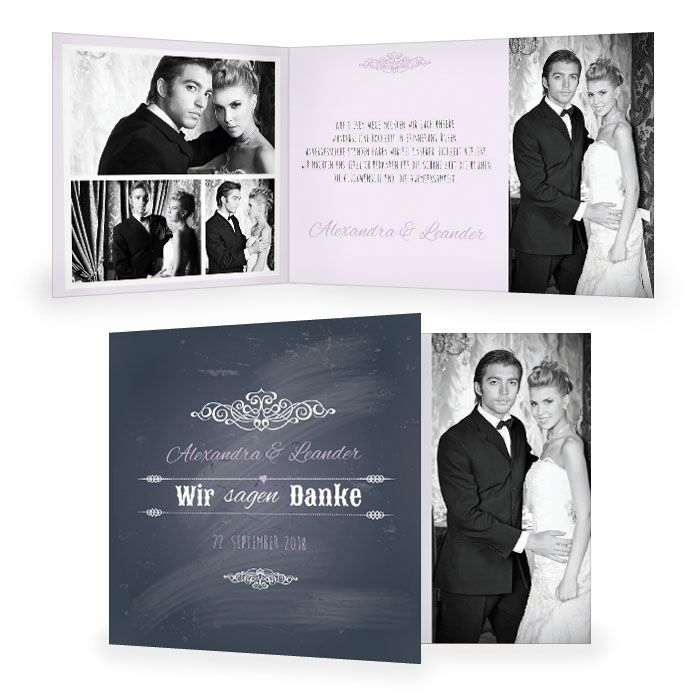 Danksagung zur Hochzeit im Schieferlook mit vielen Fotos