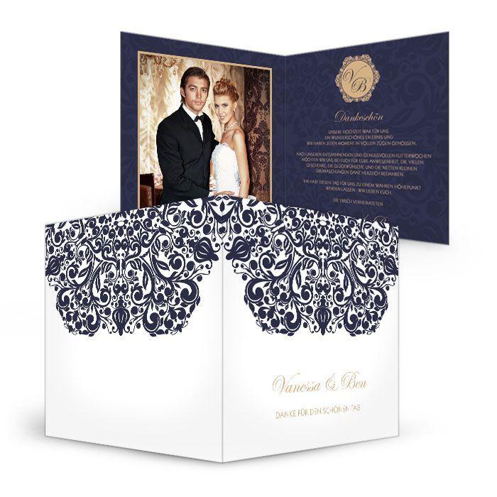 Danksagung zur Hochzeit mit barockem Ornament in Blau