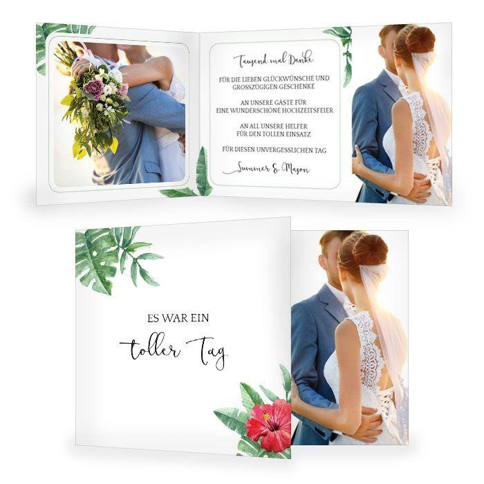 Danksagung zur Hochzeit mit Lotusblume und Monstera Blättern
