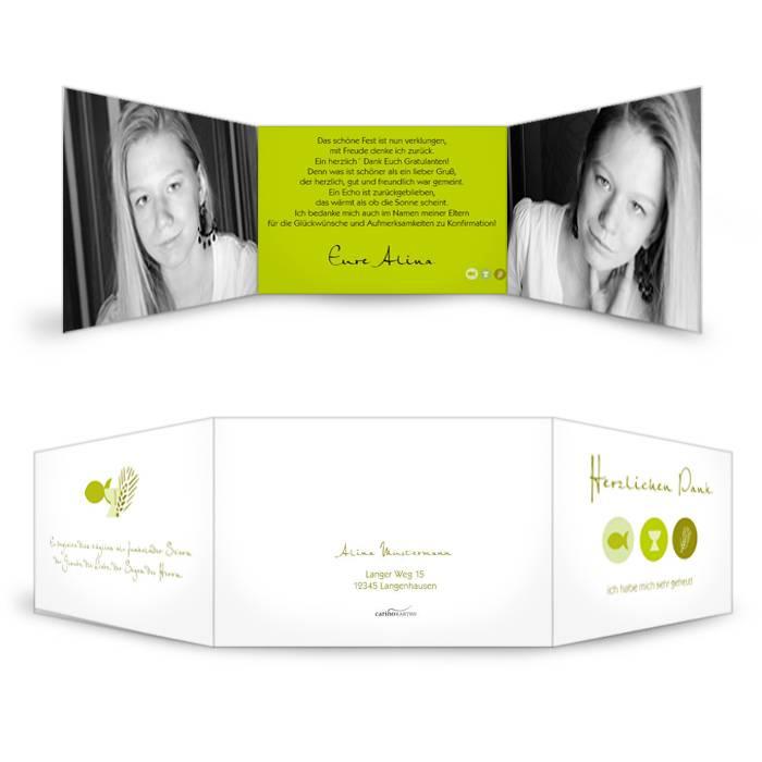 Danksagungskarte zur Konfirmation Alina in Grün mit Symbolen