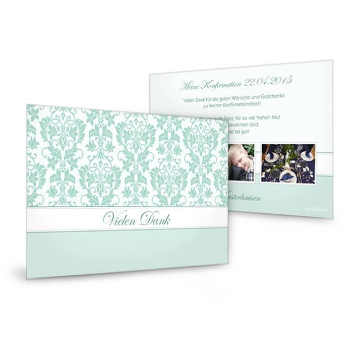 Florale Dankeskarte zur Konfirmation in Mint