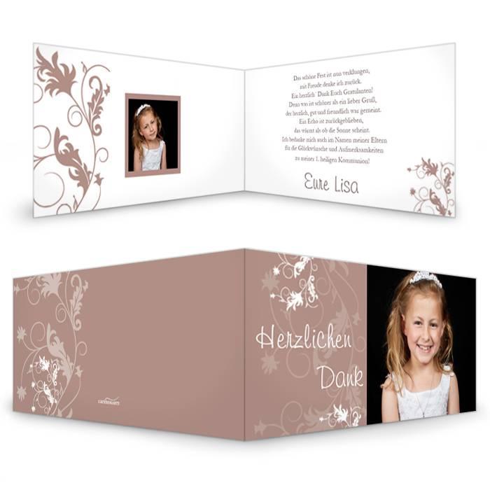 Danksagungskarte zur Kommunion in Braun mit floralem Muster