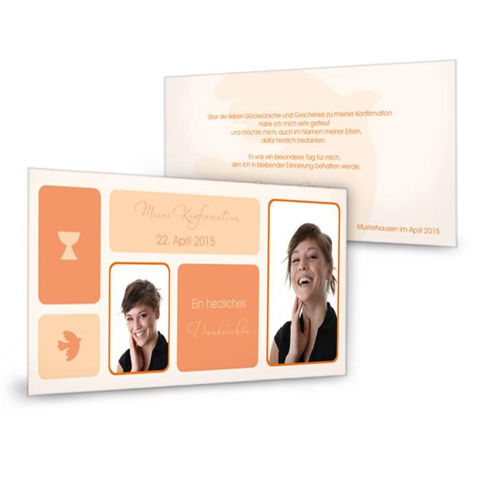 Dankeskarte zur Konfirmation und Kommunion in Orange