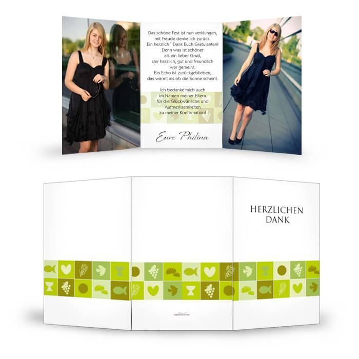 Danksagungskarte zur Konfirmation in Grün und Weiß mit Fotos