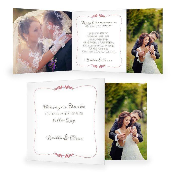 Ausgefallene Hochzeitsdanksagung mit großem Foto und Ähren