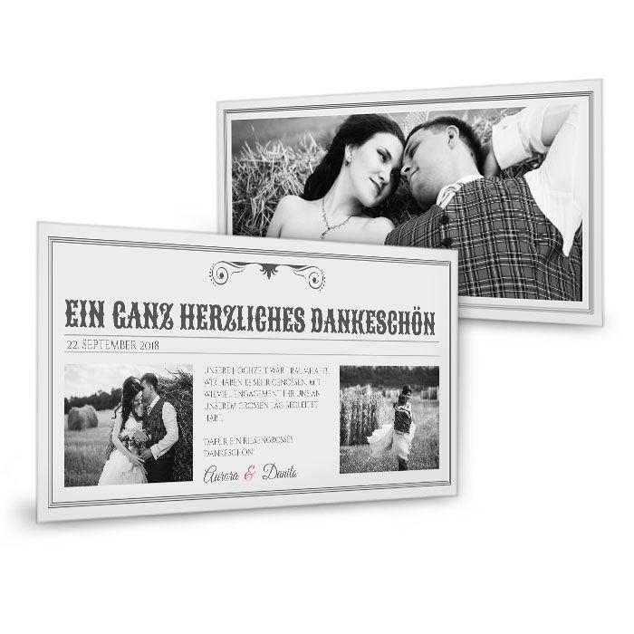 Ausgefallene Danksagung zur Hochzeit im Zeitungsstil
