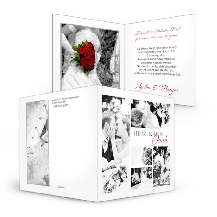 Danksagungskarte zur Hochzeit in Weiß mit vielen Fotos