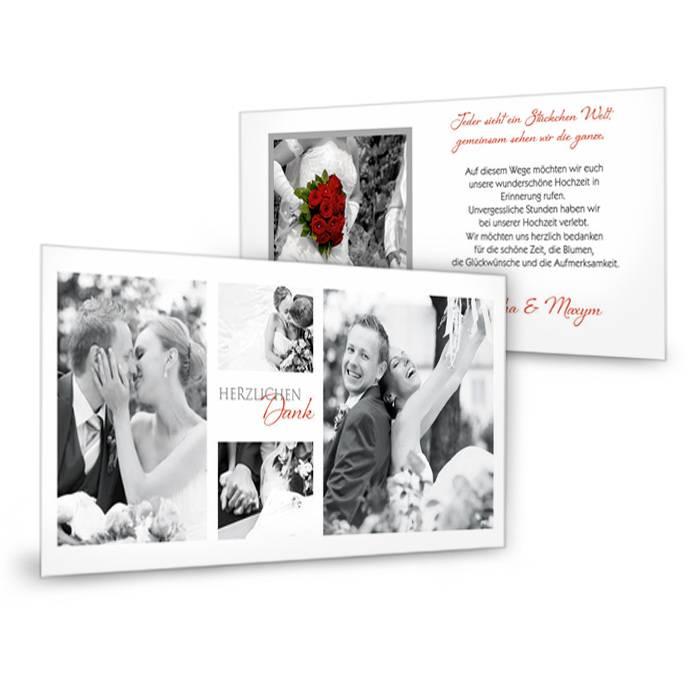 Elegante Danksagung Hochzeit als Postkarte mit vielen Fotos