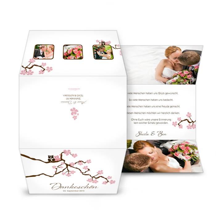Danksagungskarte zur Hochzeit mit Kirschblüten und Eulen