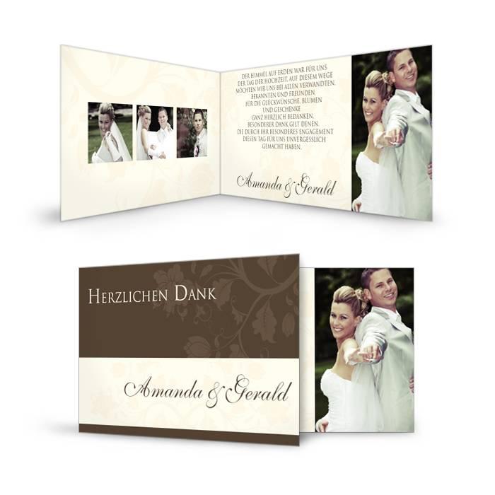 Elegante Danksagung zur Hochzeit mit floralem Design in Braun