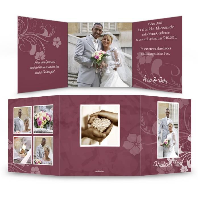 Danksagungskarte zur Hochzeit in  Bordeaux mit Blumenranken