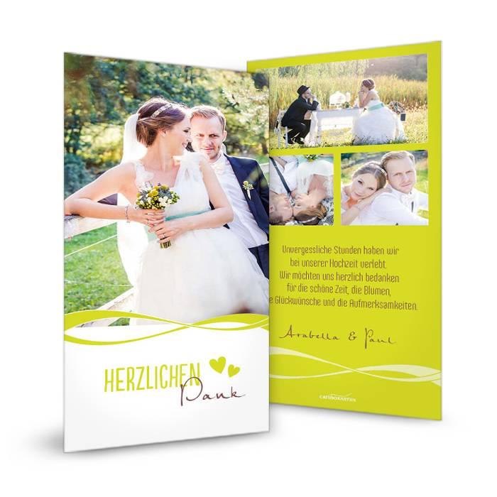 Moderne Danksagung zur Hochzeit mit großen Fotos in Grün