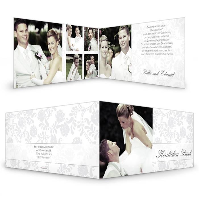 Elegante Hochzeitsdanksagung mit floralen Ornamenten in Grau