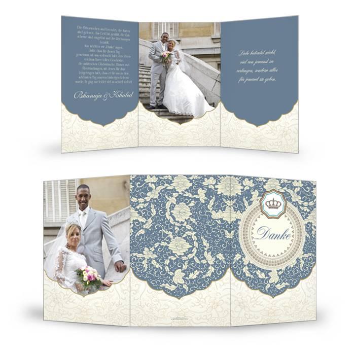 Orientalische Danksagung zur Hochzeit in Taubenblau