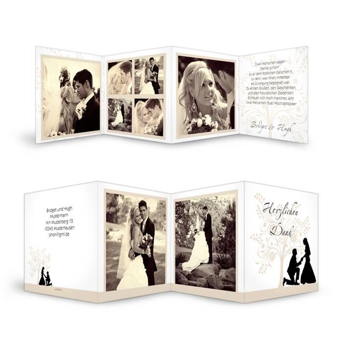 Romantische Hochzeitsdanksagung mit Brautpaar Silhouette