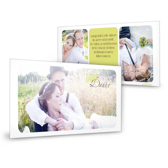Schlichte Danksagung zur Hochzeit mit Fotos in Hellgrün