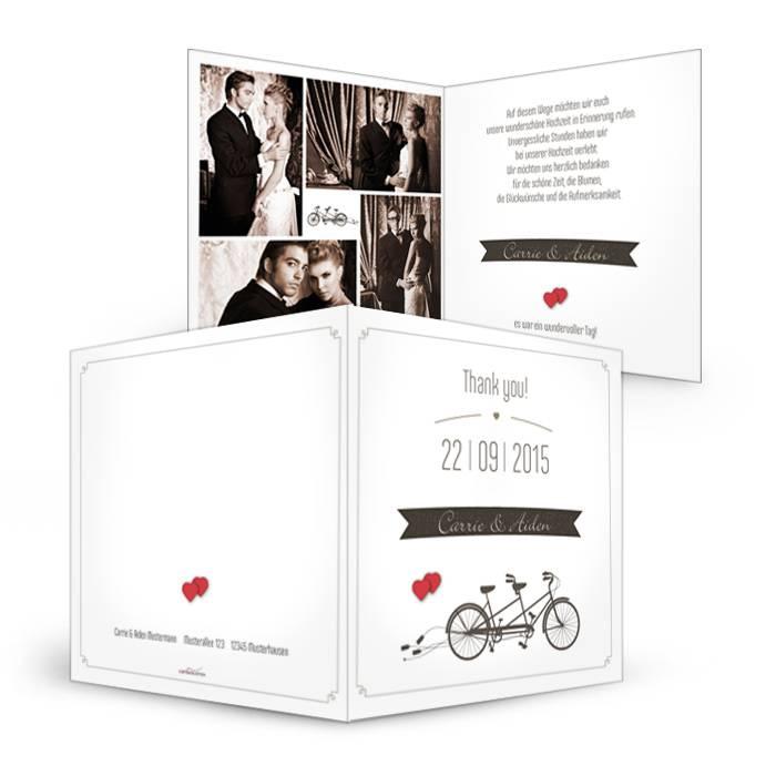 Danksagung zur Hochzeit mit Fahrrad Motiv und rotem Herz