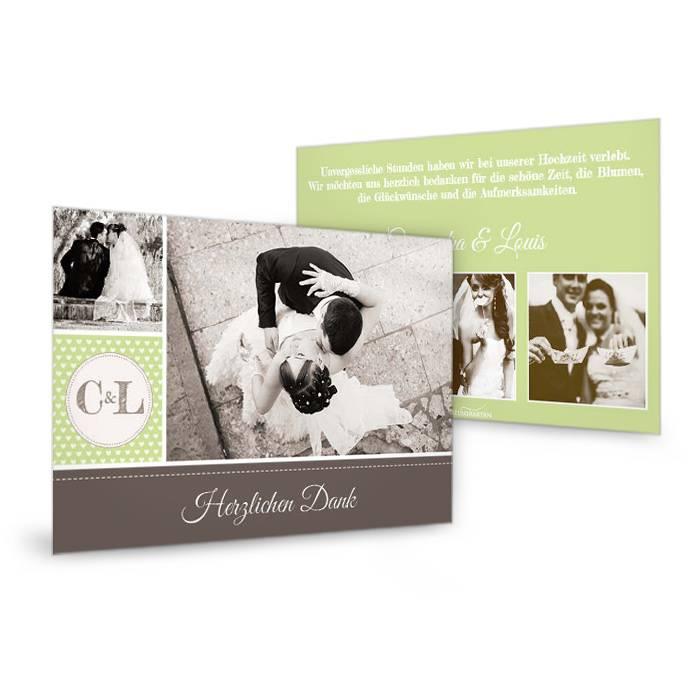 Hochzeitsdanksagung als Postkarte im Retrostil in Grün