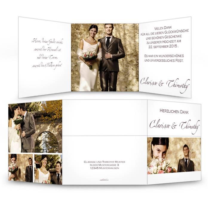 Klassische Danksagung zur Hochzeit in Weiß mit großen Fotos