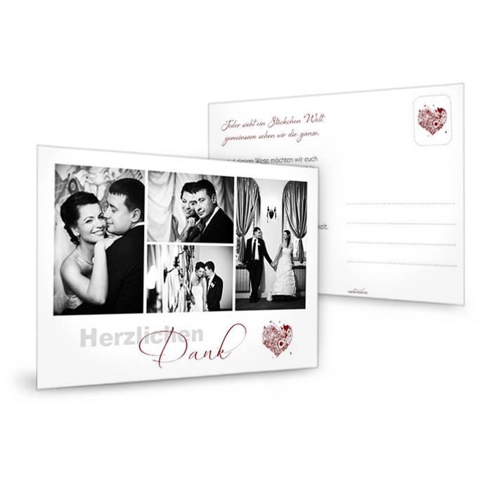 Edle Danksagungskarte zur Hochzeit in Weiß mit buntem Herz