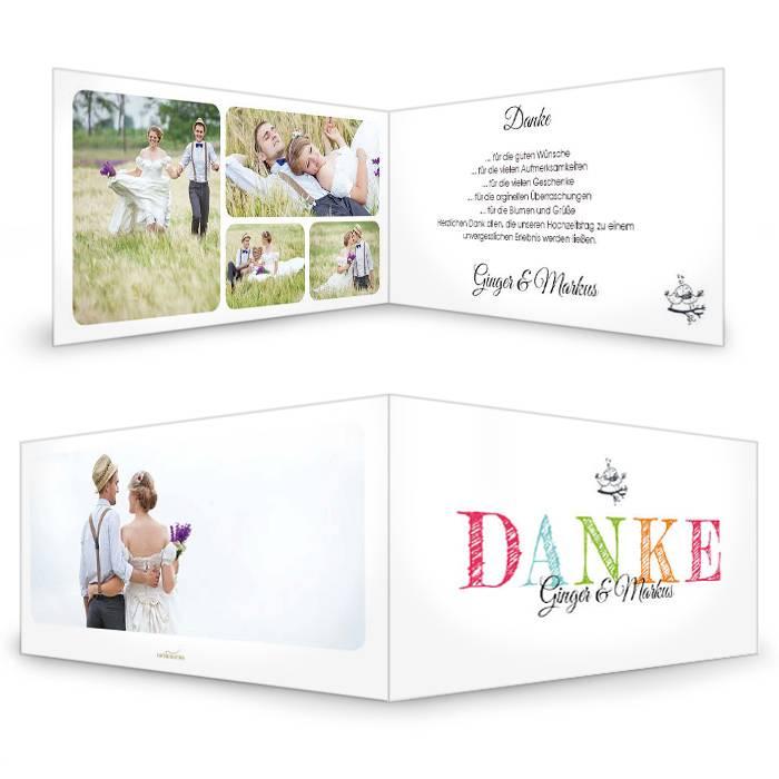 Hochzeitsdanksagung mit vielen Fotos und buntem Schriftzug