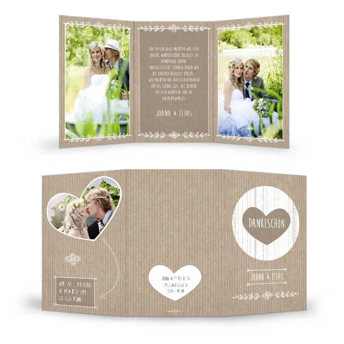 Danksagung zur Hochzeit im Packpapierlook in Braun mit Herz