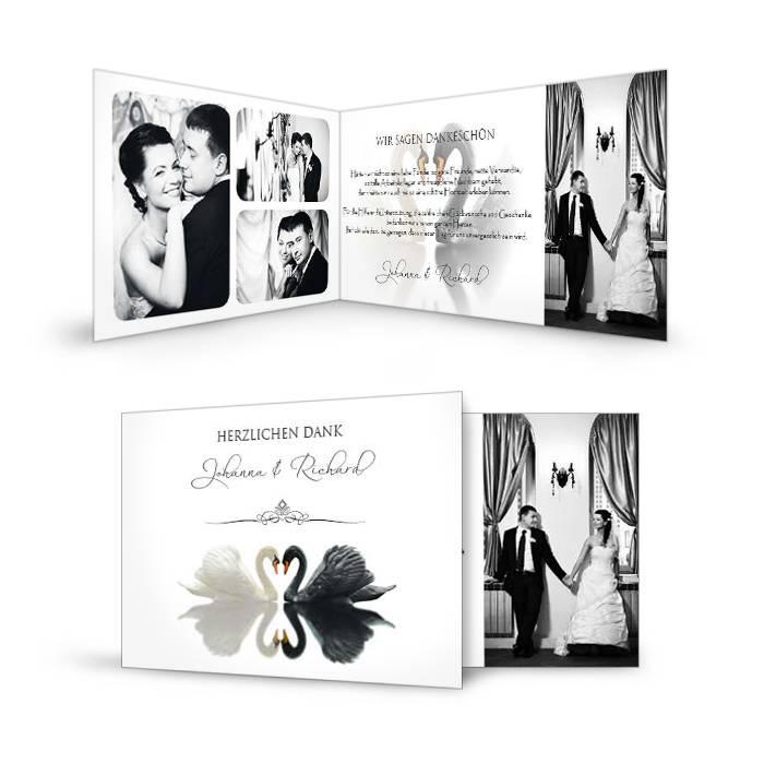 Außergewöhnliche Danksagungskarte zur Hochzeit mit Schwänen