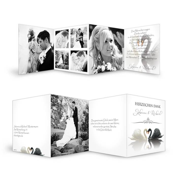 Danksagungskarte zur Hochzeit mit Schwänen und vielen Fotos