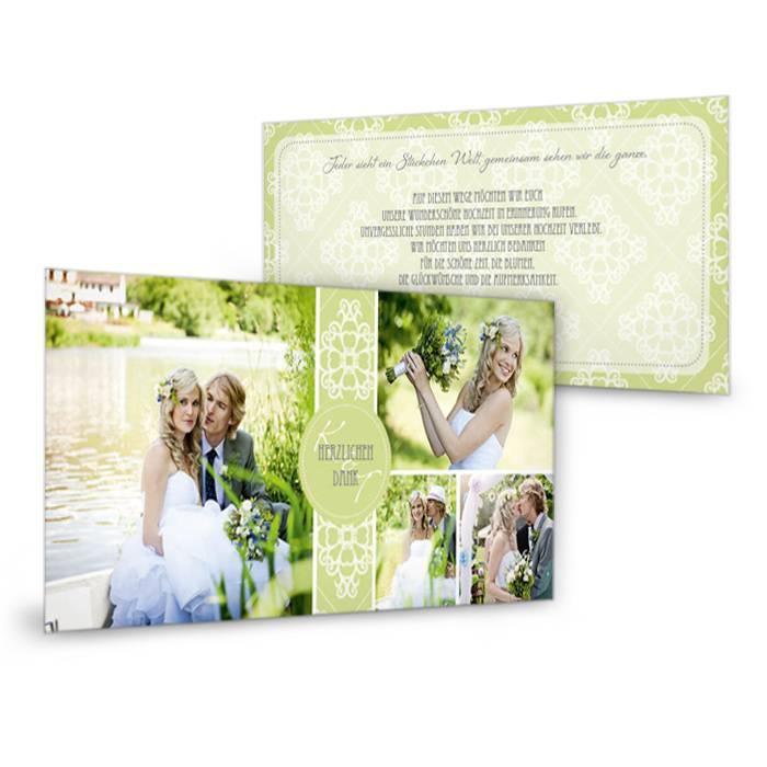 Dankeskarte zur Hochzeit in frischem Grün mit großen Fotos