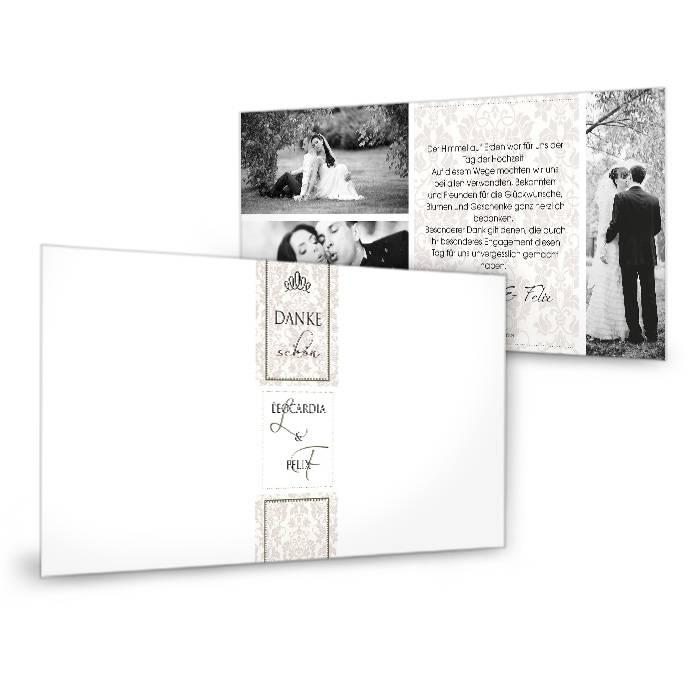 Danksagungskarte zur Hochzeit mit barockem Muster in Braun