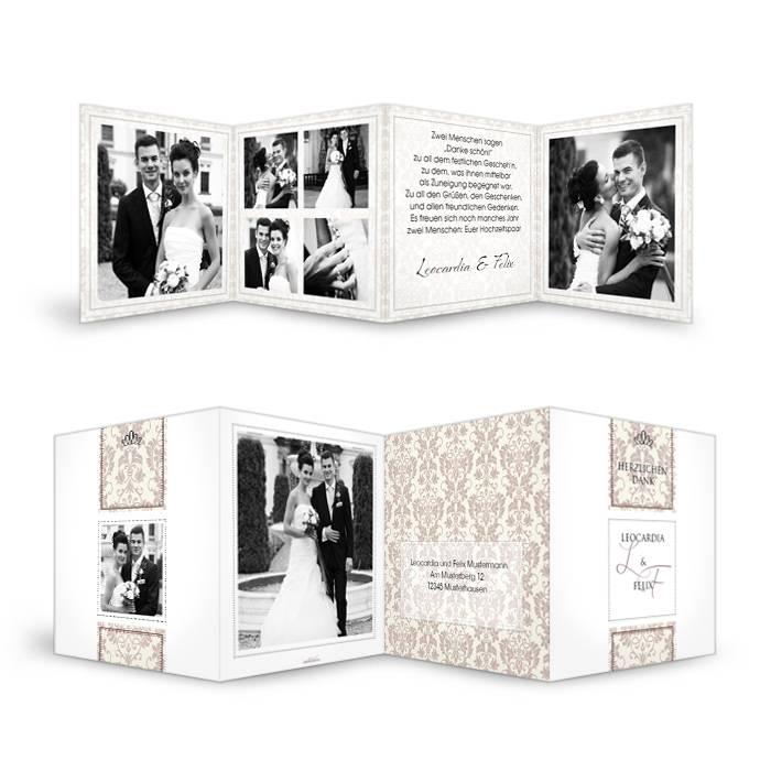 Hochzeitsdanksagung mit barockem Muster als Leporello in Braun
