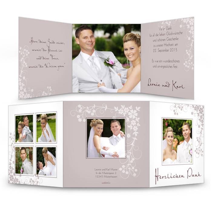 Elegante Danksagung zur Hochzeit mit floralem Muster
