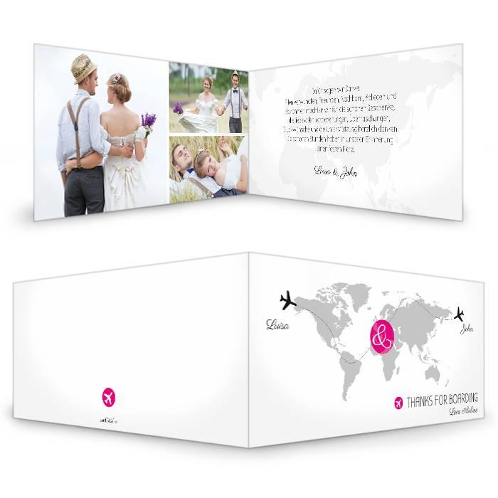 Hochzeitsdanksagung mit Flugzeugmotiv und Weltkarte in Pink