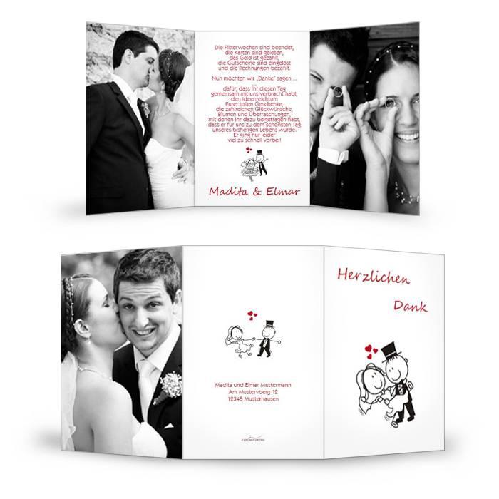 Danksagung zur Hochzeit mit Comic Brautpaar und großen Fotos