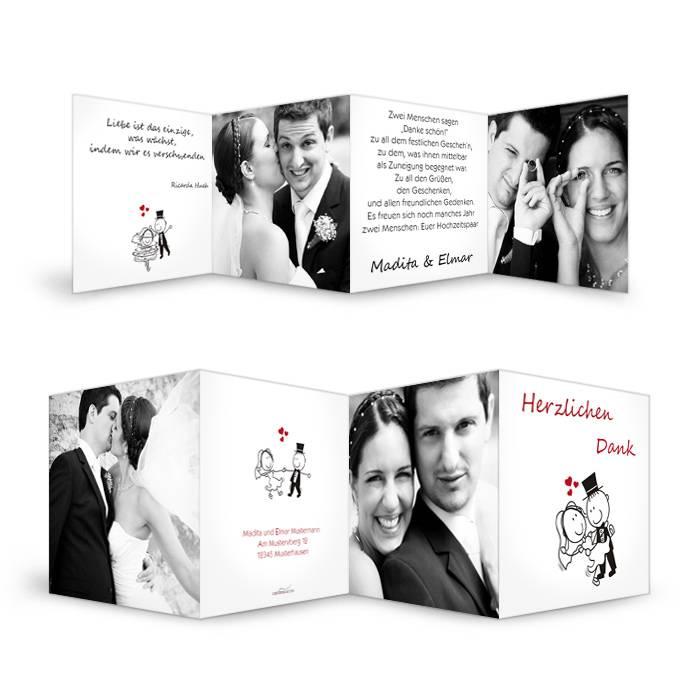 Hochzeitsdanksagung mit Comic Brautpaar und großen Fotos