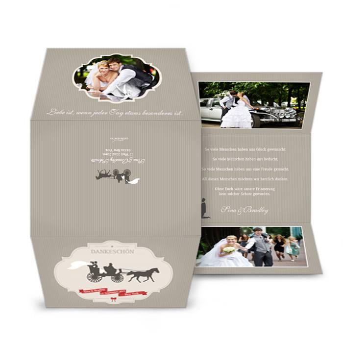 Hochzeitsdanksagung mit Retro Tandem Motiv und großen Fotos