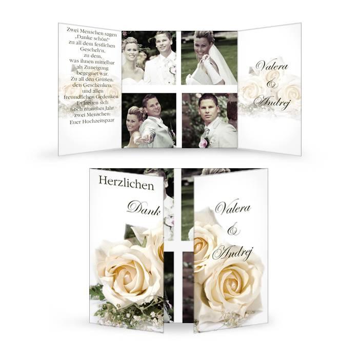 Klassische Danksagung zur Hochzeit mit Rosenmotiv