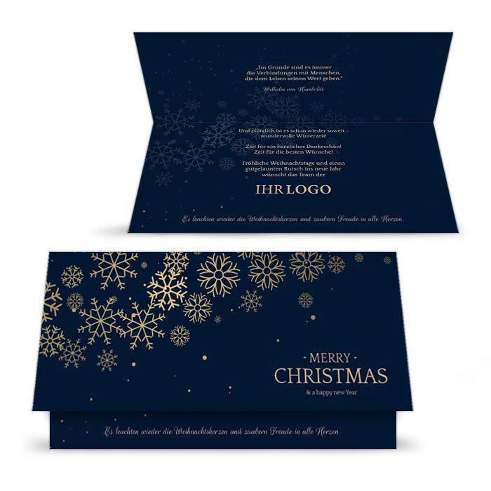 Dunkelblaue Weihnachtskarte mit goldenen Schneeflocken