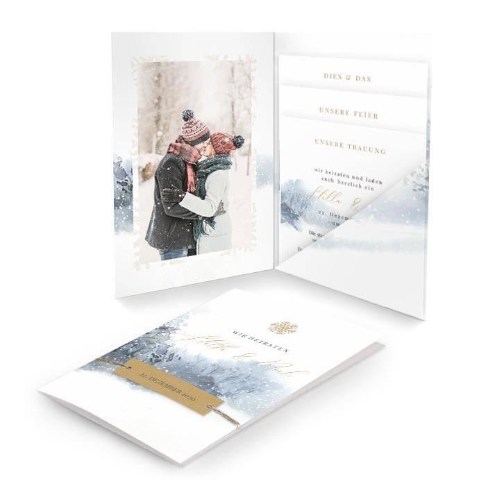 Einladung zur Winterhochzeit mit Aquarelllandschaft